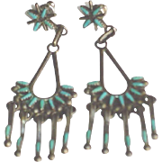 Vintage Zuni Petit Point  Sterling Silver Turquoise Chandelier Earrings c1960