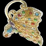 Vintage Plique a Jour Filigree Butterfly Brooch Vermeil Gold over Sterling Silver Enameled Pin Brooch