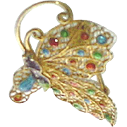 Vintage Plique a Jour Filigree Butterfly Brooch Vermeil Gold over Sterling Silver Enameled Pin Brooch