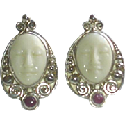 Vintage Sajen Sterling Silver Carved Bone Face Earrings with Amethyst