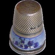 Vintage Sterling Silver Delft Enamel Thimble