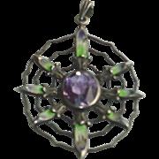 Antique Sterling Silver Spider's Web Suffragette Pendant c1900