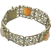 Antique Birk's Sterling Filigree and Carved Shell Cameo Bracelet