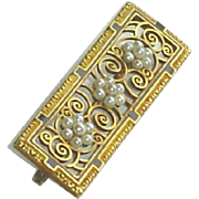 Antique 14CT Gold Enamel Pearl Brooch Pin