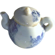 Antique Doll House Miniature Flow Blue Pottery Tea Pot