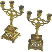 Antique Pair Doll House Gilt Soft Metal Candelabra c1890