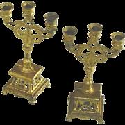 Antique Pair Doll House Gilt Soft Metal Candelabra c1890