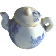 Antique Doll House Miniature Flow Blue Pottery Tea Pot