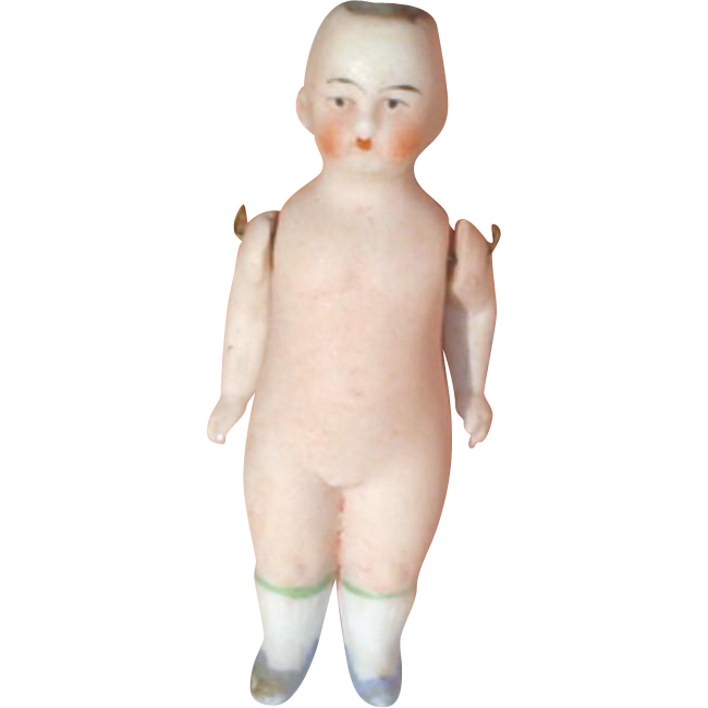 Antique Miniature German Bisque Doll with Solid Pink Tint