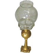 Doll House Gilt Soft Metal Oil Lamp c1890