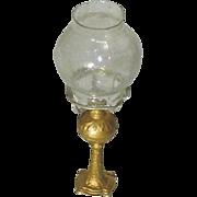 Doll House Gilt Soft Metal Oil Lamp c1890