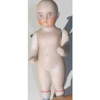 Antique Pink Tint Miniature German Bisque Doll