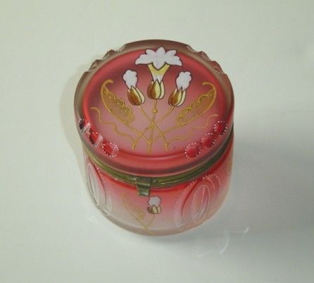 Deco Moser Cranberry Dresser Jar