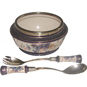 Signed Salad Set England Porcelain Silver 19th C
