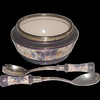 Signed Salad Set England Porcelain Silver 19th C