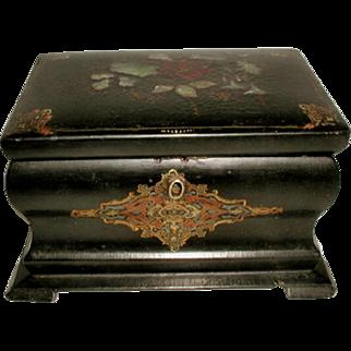 English Tea Caddy 19th Century Inlaid Papier Mache