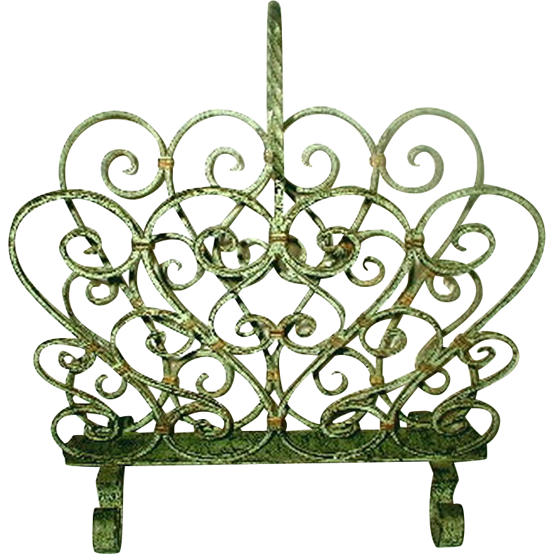 French Magazine Rack Wrought Iron Verdigris Early 1900's
