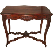 French Walnut Table Carved 19th Century Handsome