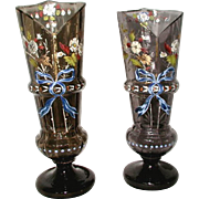 Pair Hand Blown Glass Vases 19th Century Etched Hand Painted