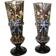 Pair Hand Blown Glass Vases 19th C Hand Painted