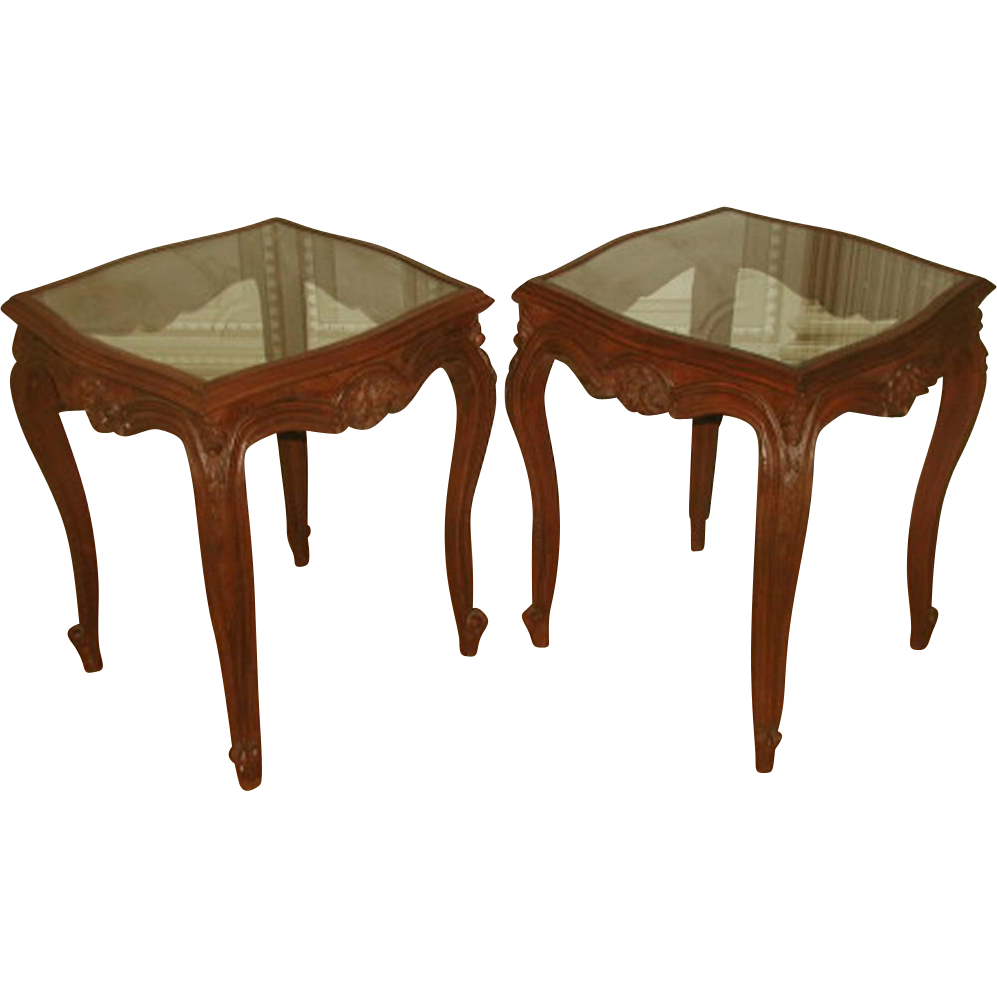 Coffee Side Tables Walnut Glass 19th Century Pair
