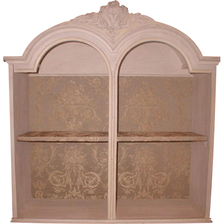 French Shelf Unit Carved Upholstered Early 1900's