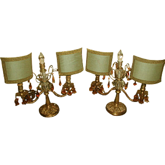 French Boudoir Lamps Half Shades Amber Prisms Rewired