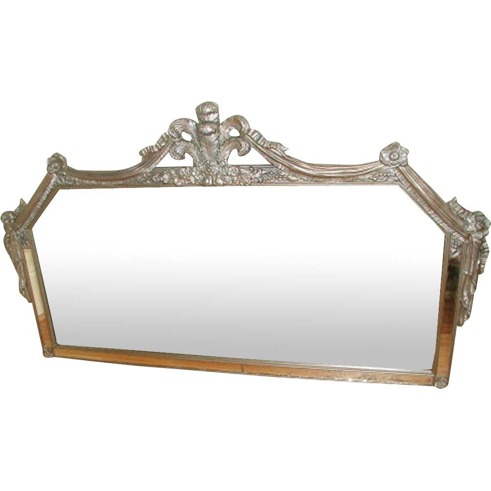 Silver Carved Mirror Swags Floral C.1900