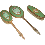 Apollo Vanity Set Gold Plated Enameled Early 1900's