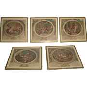 5 French Mini Engravings Framed 19th C Hand Colored