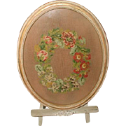 French Framed Needlepoint 19th Century With Easel