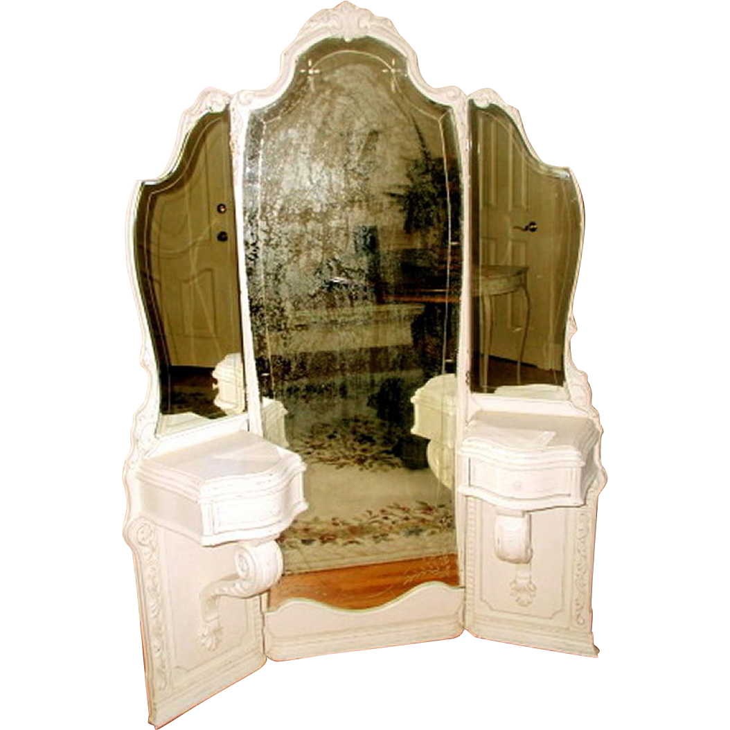 French Mirrored Vanity Tri-Fold Etched Carved 19th Century