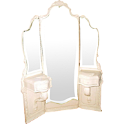 Tri-Fold Vanity Mirrored Etched France 19th Century Unusual