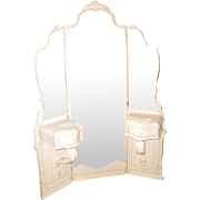 French Mirrored Vanity Tri-Fold Etched 19th C Unusual