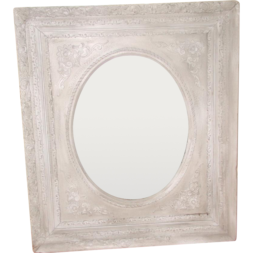 Carved Painted Mirror Original Mottled Mirror 19th Century