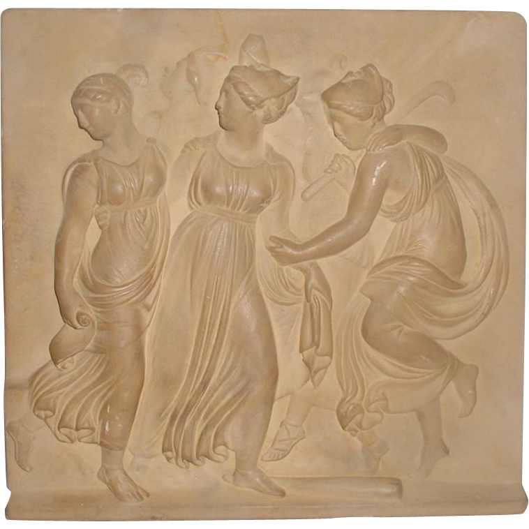 Neoclassical Roman Plaque Plaster Wall Hanging