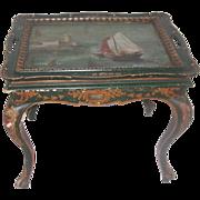 Italian Coffee Table Early 1900's Hand Painted Nautical