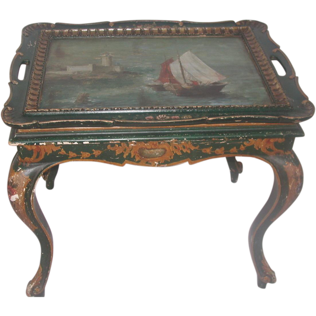Italian Coffee Table Early 1900's Hand Painted Nautical