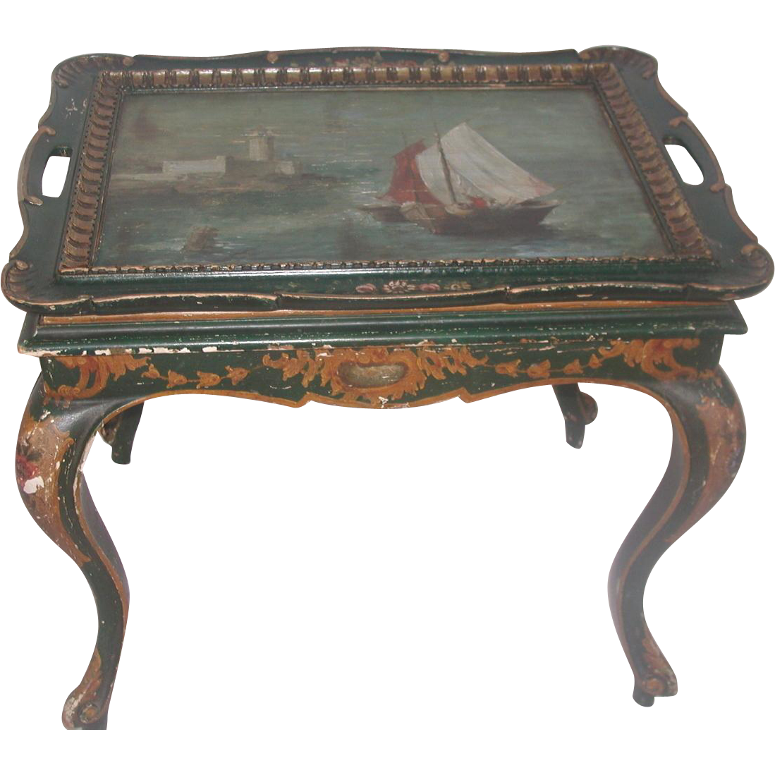 nautical coffee table italy early 1900 39 s hand painted from. Black Bedroom Furniture Sets. Home Design Ideas
