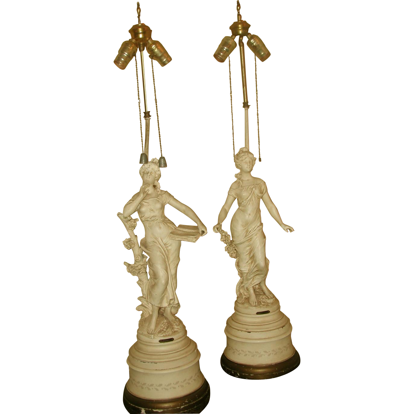 Pair Moreau Lamps Cream Spelter Signed Rewired