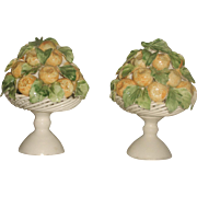 Porcelain Lemon Arrangements Pair Italy 20th C