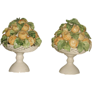 Porcelain Lemon Arrangements Pair Italy