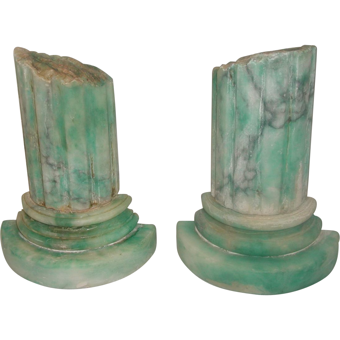 Pair Marble Bookends Italy 20th Century