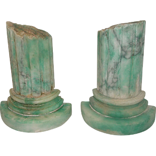 Pair Marble Bookends Italy 20th C