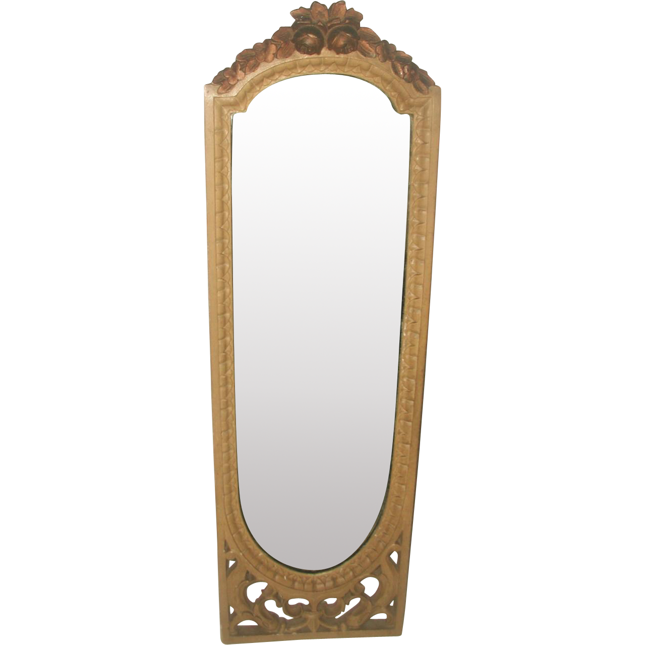 Petite Arched Mirror Wooden Carved 19th Century