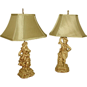 Pair Figureal Lamps Early 1900's Rewired New Silk Shades