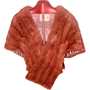 Ranch Mink Stole Pockets Collar Early 1960's