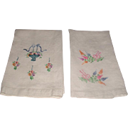 Pair Linen Hand Embroidered Hand Towels 1940's