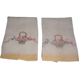Pair Linen Organza Hand Towels Embroidered C.1940's-50's