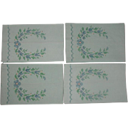 Four Linen Hand Towels Cross Stitched 1960's